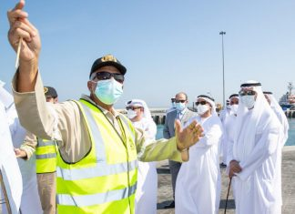 HH Sheikh Hamad bin Mohammed Al Sharqi, Supreme Council Member and Ruler of Fujairah, attending the official opening of Fujairah's new green port area