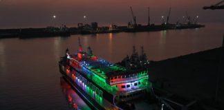 The ferry Voyage Symphony alongside the new ro-pax berth at Hazira port