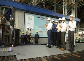 Officials from Cochin Shipyard and Asko Maritime conducted the plate cutting ceremony for two autonomous electric ferries
