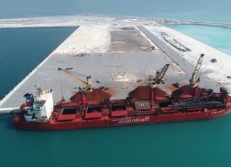 Khalifa Port's South Quay commenced operations with the arrival of the Alfred Oldendorff.