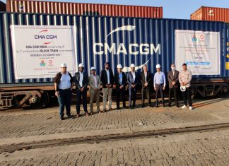 The launch of the second weekly block train operated by DICT and CMA CGM