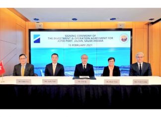 Eric Ip (centre), Group Managing Director of Hutchison Ports, and Andy Tsoi (second from left), Managing Director of Hutchison Ports, Middle East and Africa and senior executives of the company attended the online signing ceremony