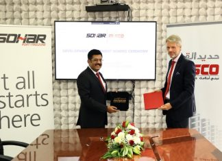 Mark Geilenkirchen, CEO, Sohar Port, and Sasikumar Moorkanat, Managing Director and Chief Executive of Misco signing the land use and berth development agreement