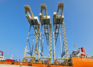 The three new cranes arriving at the Port of Berbera