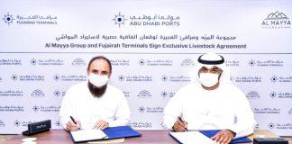 AbdulAziz Al Balooshi, CEOatFujairah Terminals and Suliyman Halbouni, CEO, Al Mayya Group, signing the landmark livestock logistics agreement