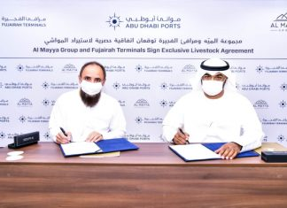 AbdulAziz Al Balooshi, CEO at Fujairah Terminals and Suliyman Halbouni, CEO, Al Mayya Group, signing the landmark livestock logistics agreement