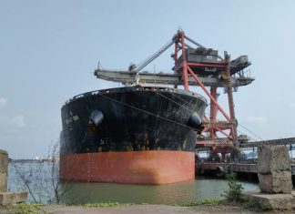 A 297m bulk carrier at New Mangalore Port Trust, one of India's Major Ports, recently