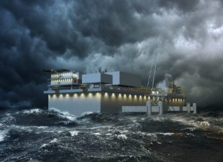 Computer generated illustration of the new LNG terminal, designed to withstand extreme weather conditions