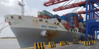 The inaugural vessel of CI1 service calls at APM Terminals Pipavav