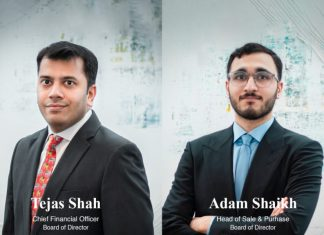 Tejas Shah and Adam Shaikh who are joining the Tomini Shipping board