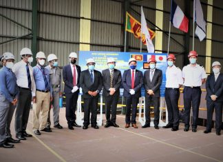 A group photo at the keel laying event attended by representatives of the Embassy of France in Sri Lanka and Maldives, Orange Marine, Bureau Veritas and Colombo Dockyard