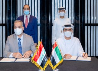 The Iraq MoU being signed in the presence of HE Suhail bin Al Mazrouei, Minister of Energy and Infrastructure in the UAE, and HE Nasser Hussein Al Shebly, Minister of Transportation in Iraq, by Captain Mohamed Juma Al Shamisi, Group CEO, AD Ports Group, and Dr. Eng. Farhan Muhesen Al Fartosi, Director General of the General Company for Ports of Iraq