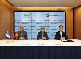 Eric Ip (centre), Group Managing Director of Hutchison Ports, Andy Tsoi (right), Managing Director, Middle East and Africa Division and Cody Leung (left), Group General Counsel & Corporate Development Director of the company attended the online signing ceremony